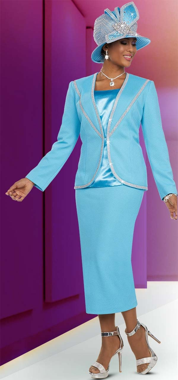 Ben Marc 48117 Womens Church Suit With Embellished Trim Design