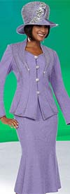 Ben Marc 48122 Ladies Knit Flared Skirt Suit With Offset Shawl Lapel Jacket