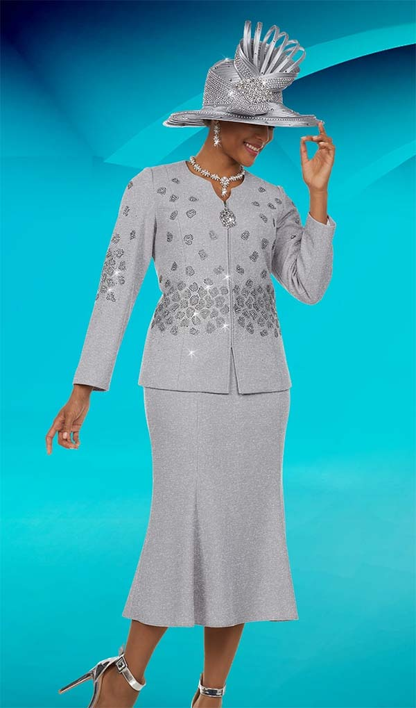Ben Marc 48123 Knit Church Suit With Flared Skirt & Stone Embellishments
