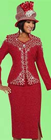 Ben Marc 48124 Ladies Embellished Knit Skirt Suit With Star Neckline