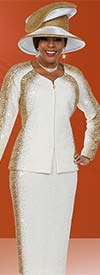 Ben Marc 48126 Ladies Knit Skirt Suit With Gold Dusted Design
