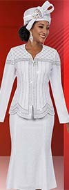 Clearance Ben Marc 48127 Womens Knit Flared Skirt Suit With Embellished Trim Design