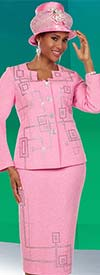 Ben Marc 48129 Womens Knit Skirt Suit With Geometric Pattern