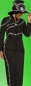 Clearance Ben Marc 48131 Womens Knit Church Suit With Embellished Trailing Design