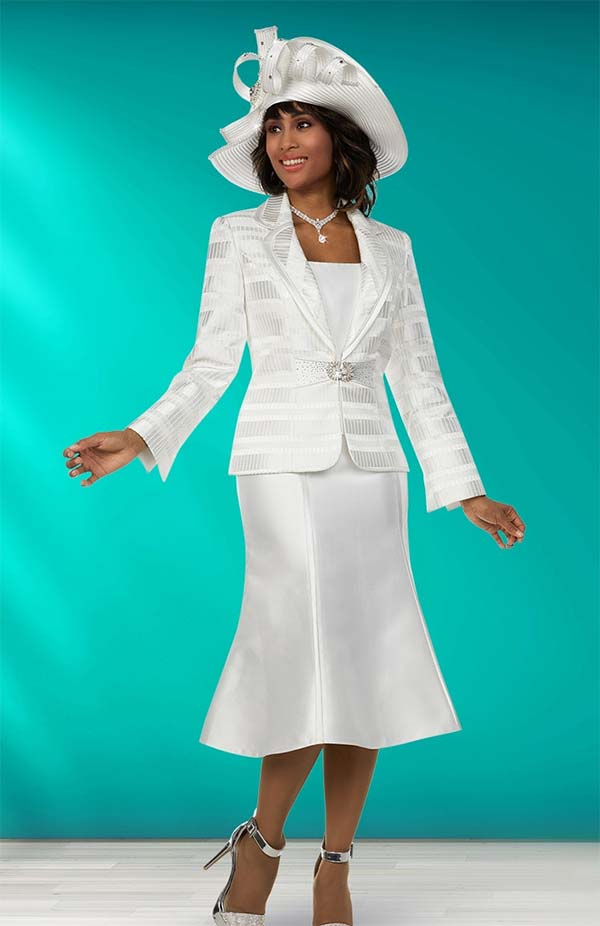 Ben Marc 48133 Womens Church Suit With Flared Skirt & Clover Lapel