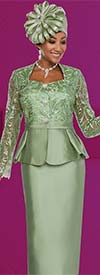 Clearance Ben Marc 48137 Silky Twill Womens Skirt Suit With Lace Sleeve Peplum Jacket