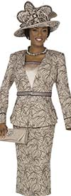 Champagne 4713 Ladies Specialty Brocade Dress / Jacket Set