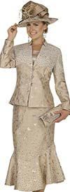 Clearance Champagne 4808 Womens Metallic Brocade Church Suit