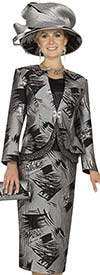 Champagne 4810 Ladies Brush Stroke Print Skirt Suit