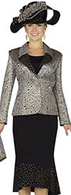 Champagne 4811 Womens Brocade / Peach Skin Skirt Suit