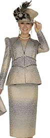 Champagne 4813 Womens Specialty Brocade Church Suit