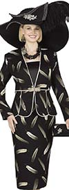 Champagne 4819 Ladies Feather Print Jacket / Dress Set