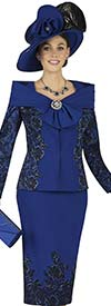 Champagne 4858 Ladies Embroidered Portrait Collar Church Suit