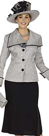Champagne 4863 Ladies Wide Collar Suit For Church