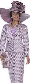 Champagne 5010 Church Suit With Shawl Lapel & Triangular Print Pattern