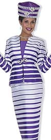 Clearance Champagne 5011 Striped Skirt Suit For Church