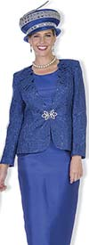 Champagne 5014 Novelty Lace Jacket & Twill Satin Skirt Suit