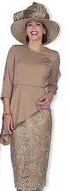 Champagne 5102 Womens Skirt Suit With Metallic Lace Design & High-Low Jacket