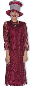 Champagne 5105-Burgundy Womens Skirt Suit With Mesh & Intricate Piping Design