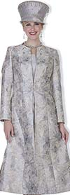 Champagne 5109 Long Metallic Embossed Brocade Coat & Dress Suit