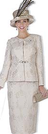 Champagne 5110 Jewel Neckline Jacket & Skirt Suit With Metallic Brocade Fabric