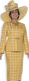 Champagne 5113-Gold - Womens Skirt Suit With Embossed Brocade Polka Dot Design