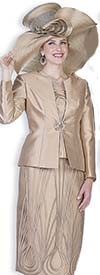 Champagne 5115 Three Piece Piping Accented Womens Skirt Suit For Church