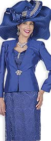 Champagne 5117 Twill Satin Jacket & Dress Set With Lacey Design