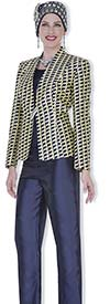 Champagne 5121 Womens Wardrober Set With Houndstooth Print Jacket