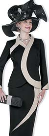 Champagne 5128 Peach Skin Jacket & Skirt Suit With Contrasting Trim