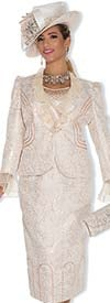 Champagne 4806 Metallic Brocade Ladies Suit With Ruffle Lapel