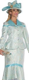 Champagne 4809 Womens Metallic Brocade Peplum Church Suit