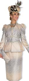 Champagne 4813 Metallic Brocade Ladies Suit For Church