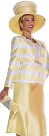 Champagne 5001-Banana - Womens Four Piece Wardrober Suit With Striped Jacket