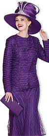Clearance Champagne 5006-Purple -  Ladies Church Suit With Piping & Lace Design