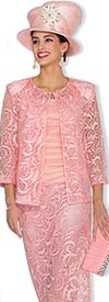 Champagne 5009-Pink - Lace Skirt Suit For Women