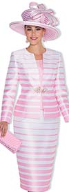 Champagne 5011 Womens Three Piece Church Suit With Striped Print