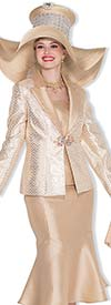 Champagne 5013 Womens Three Piece Church Suit With Chevron Print