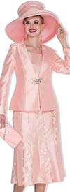 Champagne 5015 Ladies Three Piece Church Suit With Pleated Skirt