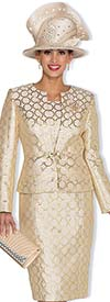 Champagne 5019 Womens Metallic Brocade Dress With Jacket