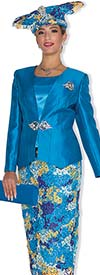 Champagne 5020 Womens Colorful Lace Skirt Suit With Solid Jacket