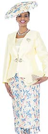 Champagne 5020 Novelty Lace Skirt Suit With Twill Satin Jacket
