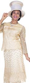 Champagne 5105 Womens Church Suit With Intricate Piping Design