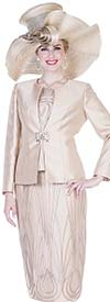 Champagne 5115 Twill Satin Fabric Skirt Suit With Ornate Piping Design