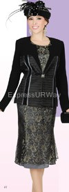 Clearance Champagne 4105-Black Womens Church Suits