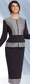 Chancelle 40507 Womens Jewel Collar Skirt Suit