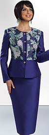 Chancelle 40523 Womens Two Piece Jewel Collar Skirt Suit