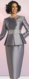 Chancelle 40532 Two Piece Skirt Suit With Pleated Jacket
