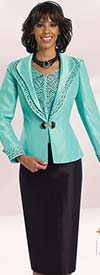 Chancelle 40533 Three Piece Skirt Suit With Embellished Cuff & Collar