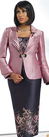 Chancelle 40535 Three Piece Skirt Suit With Layered Cuff & Collar